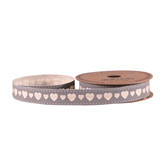Grey Hearts Linen Ribbon 15mm x 5yds