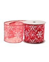 Festive Red Snowflake Snowflake Ribbon 10yds