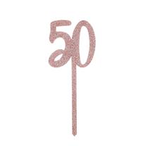 Rose gold glitter acrylic 50th birthday cake topper