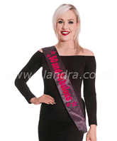 50 And Fabulous Black Satin With Pink Foil Sash