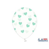 """Crystal Clear 12"""" Latex With Mint Hearts 6pk"""