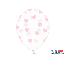 """Crystal Clear 12"""" Latex With Light Pink Hearts 6pk"""
