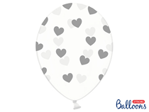 """Crystal Clear 12"""" Latex With Silver Hearts 6pk"""