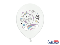 Pastel White Double Side Print Unicorn Latex Balloons 6pk