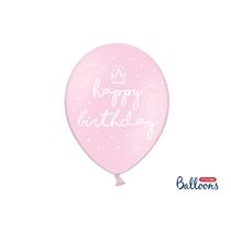 "Happy Birthday Pastel Pink 12"" Latex Balloons 6pk"