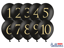 "Pastel Black Wedding Table Number 12"" Latex Balloons 10pk"