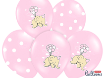 "Pink Elephant And Pink Polka Dot 12"" Latex Balloons 6pk"