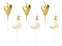 Swan and Heart Cake Candles 6pk