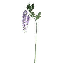 Lilac Wisteria Flower Spray With Leaves