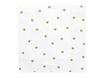 White Napkins With Gold Hearts 20pk