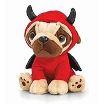 Valentine's Pug Devil 14cm Soft Toy