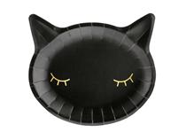 Halloween Black Cat Shaped 22cm Paper Plates