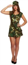 Adult Sexy Army Girl Fancy Dress Costume