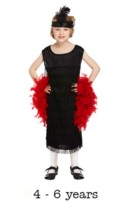 Children's Flapper Fancy Dress Costume 4 - 6 yrs (with feather boa)