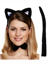 Adult Halloween Black Cat Accessories Dress Up Set