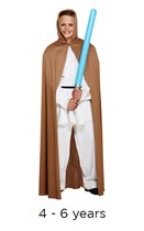 Child Jedi Style Brown Cape 4 - 6 yrs with light saber