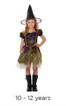 Children's Halloween Sparkly Witch Fancy Dress  Costume 10 - 12 years
