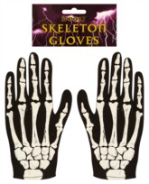 Halloween Fancy Dress Skeleton Gloves - Adult