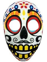 Adult Halloween White Day of the Dead Sugar Skull Mask