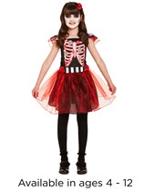 Halloween Day Of The Dead Girls Skeleton Costume