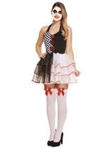 Adult Halloween Evil Jester Fancy Dress Costume