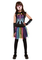 Halloween Girl's Multi Coloured Skeleton Fancy Dress Costume