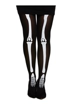 Skeleton Adult Bone Print Tights - One Size