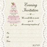 Wedding Cake Wedding Evening Invitations & Envelopes 10pk