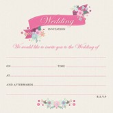 Pink Floral Wedding Invitations & Envelopes 10pk