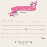 Pink Floral Wedding Evening Invitations & Envelopes 10pk