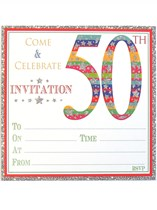 Colourful Embossed 50th Birthday Invitations & Envelopes 10pk