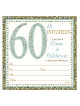 Embossed 60th Birthday Invitations & Envelopes 10pk
