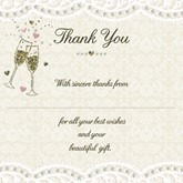 Lace & Champagne Wedding Thank You Cards & Envelopes 10pk