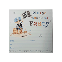 Embossed Pirate Party Invitations & Envelopes 10pk