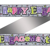 Holographic Happy Engagement Foil Banner