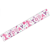 1 Today Holographic Foil Banner Pink