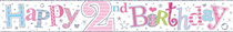 Happy 2nd Birthday Holographic Foil Banner Pink