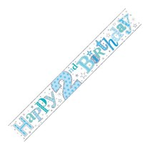 Blue Happy 2nd Birthday Foil Banner
