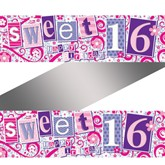 Sweet Sixteen Holographic Foil Banner