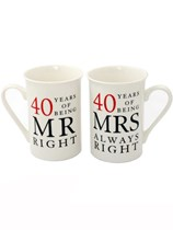 Mr Right & Mrs Always Right 40th Ruby Anniversary Mugs