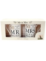 Mr Right & Mrs Always Right 50th Golden Anniversary Mugs