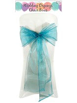 Turquoise Organza Chair Bow 6pk