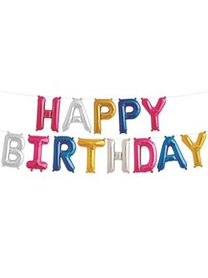 Multi-Coloured Happy Birthday Foil Balloon Kit