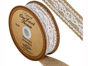 Woven Hessian Overlaced Wedding Ribbon 5yds