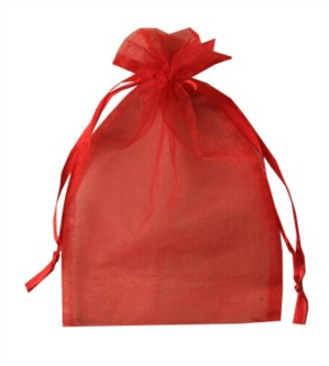 Large Red Organza Favour Bags - 12pk
