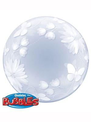 """Butterflies & Flowers Deco Bubble Balloon 20"""""""