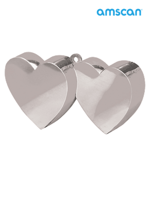 Silver 6oz Double Heart Balloon Weight