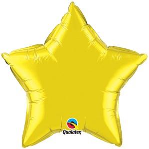 "Citrine Yellow 20"" Star Foil Balloon"