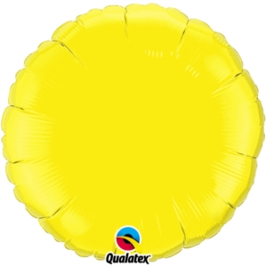 "Yellow 18"" Round Foil Balloon"