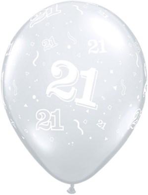 "11"" 21st Birthday Diamond Clear Balloons - 50pk"